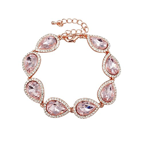 (Iris Island Women Rose Gold Plated Pink Austrian Crystal Bridal Teardrop Bracelet for wedding Bridesmaids)