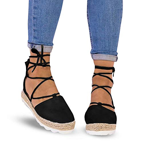 - Athlefit Women's Espadrille Lace up Flat Sandals Close Toe Platform Sandals Size 9 Black