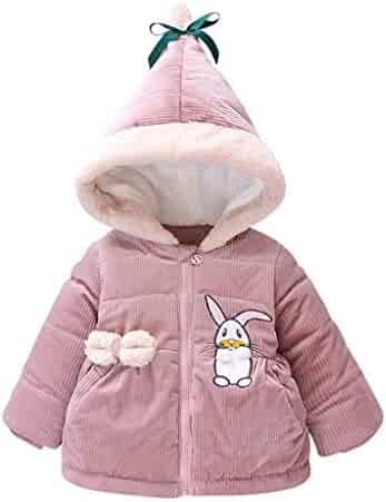 Moonker Infant Baby Girls Boys Jacket Fall Winter Warm Clothes 3-24 Months Rabbit Floral Ruched Hooded Windproof Coats