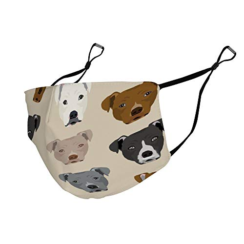 AGRBLUEN Unisex Breathable Mouth Mask Adjustable Anti Dust Half Face Mask Reusable Washable Mouth Cover Fashion Novelty Pitbull Heads Mouth Mask
