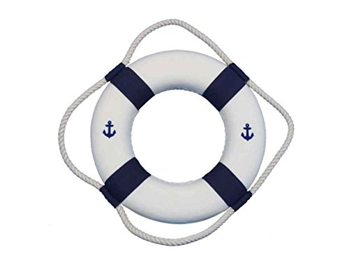 Hampton Nautical  Classic White Decorative Anchor Life Ring with Bands Beach Decorating Ideas Accessories, 10