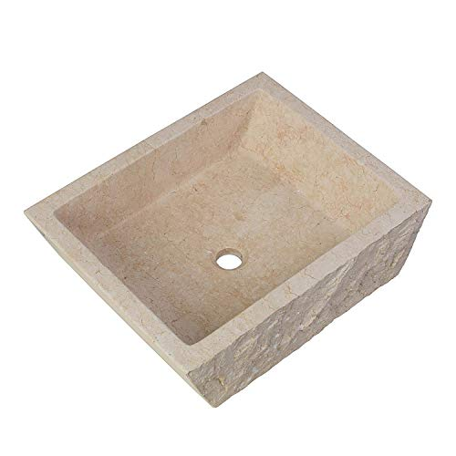 "MAYKKE Branson 20"" Rectangular Stone Vessel Sink Beige Cream Natural Modern Chiseled Marble Sinks for Above Counter Bathroom Vanity, Lavatory Cabinet, Shower Egyptian Yellow Marble ASA1000101"