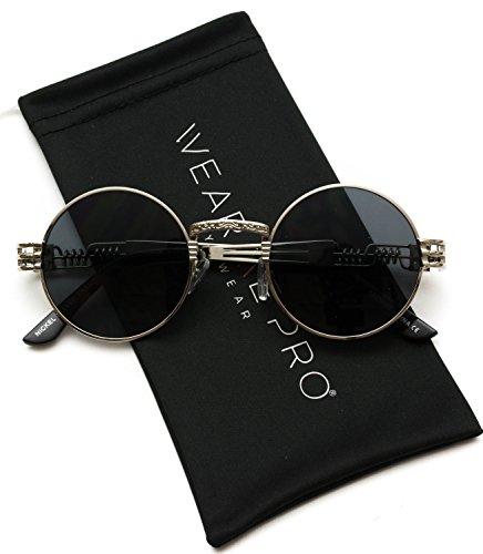 WearMe Pro - Metal Frame Retro Round Clear Lens Glasses (Silver Frame/Black Lens, 48)