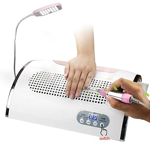 ATNAILS 3 in 1 Nail Vacuum Cleaner Nail Dust Collector 3 Fans 54W LED UV Lamp Nail Dryer & 40000 RPM Nail Drill Pen for Manicure Pedicure Art Salon, Pink from ATNAILS