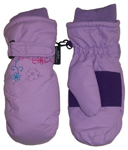 N'Ice Caps Girls Thinsulate and Waterproof Flower Embroidered Mitten