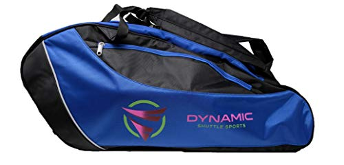 Dynamic Shuttle Sports Premium Quality Badminton Racket Bag, Tennis Racket Bag, with Handles and Shoulder Straps, Large Volume, 5 Compartments, Carry at Least 9+ Rackets (Blue)…