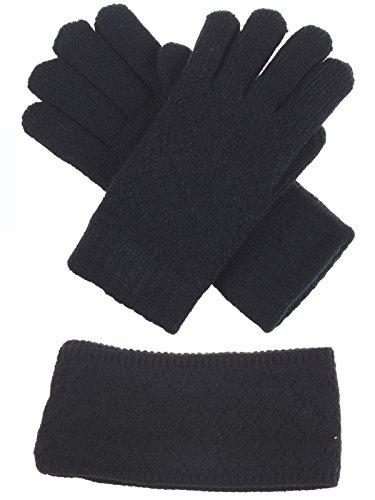 BYOS Winter Chic Plush Faux Fur Fleece Lined Knitted Gloves & Headband Wrap Ear Warmer Set (Black Diamond Pattern Set)
