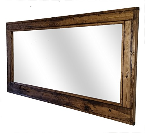 60 x 30 Herringbone Double Vanity Mirror Provincial Stain Reclaimed Wood Framed Mirror - Large Wall Mirror - Rustic Modern Home - Home Decor - Mirror - Woodwork by Renewed Decor - Log Vanity