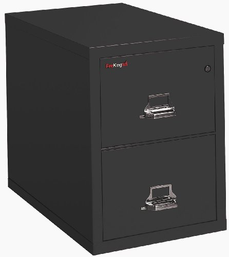 File Insulated Letter Vertical Drawer - FireKing - 21825CBL - FireKing 2-1825-C Vertical File Cabinet - 17.75 x 25 x 28 - Steel - 2 x File Drawer(s) - Letter - Insulated, Key Lock, Scratch-Resistant, Fireproof, Water Resistant - Black,