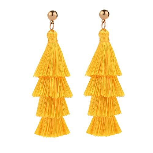BaubleStar Fashion Gold Tassel Dangle Earrings Layered Long Bonita Tiered Yellow Thread Tassel Drop Statement Jewelry for Women Girls BAN0054Y
