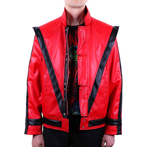 Mjb2c-Michael Jackson Costume Thriller Leather Jacket Child/Adult (Child 8-9Y, Red) -