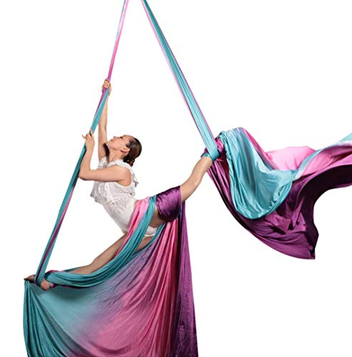 Ombre Aerial Silks Hand Dyed Aerial Fabrics for Aerial Yoga, Aerial Yoga Hammock, Aerial Acrobatic,Circus Arts, Aerial Dance (Electric Forest, Swivel Ring-13yard) … by F.Life (Image #4)