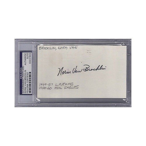 Norm Van Brocklin Autographed Signed Gpc Government Postcard - PSA/DNA