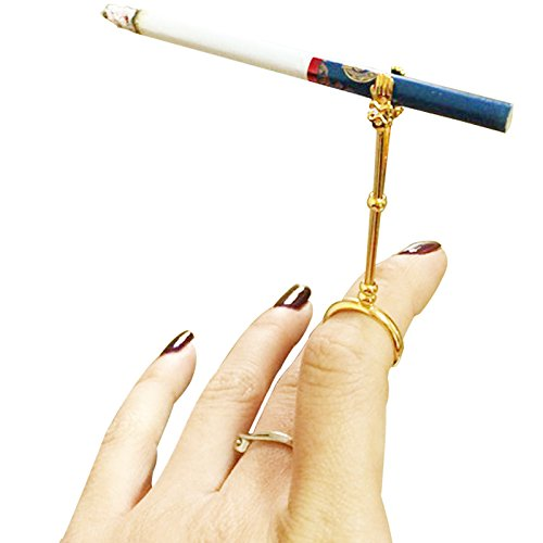 La La Pet Lady Retro Smoking Ring Holder Small Hand Shelf Cigarette Holder Pipe(Golden,S) ]()