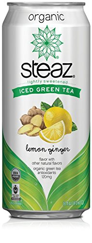 Steaz Organic Iced Tea, Lemon Ginger, 16 Ounce (Pack of 12) by Steaz