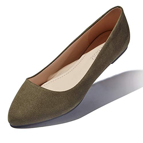 DailyShoes Women's Casual Flats Flat Shoes Ballet Slip On Classic Pointed-Toe Summer Beach Indoor Outdoor Lightweight Fashion Footwear Pointy Toe Loafer Olive,s,v,10