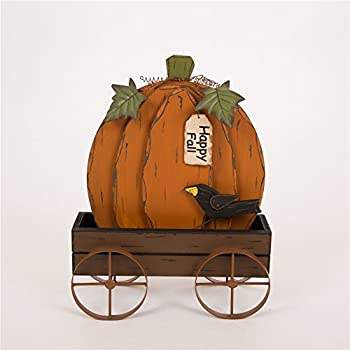 Glitzhome Handcrafted Wooden/Iron Pumpkin Wagon For Fall & Thanksgiving Decor