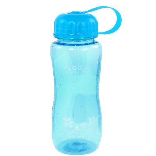 Forma de la Flor de impresión Cilindro Botella de agua de plástico de 400 ml Copa Azul Claro