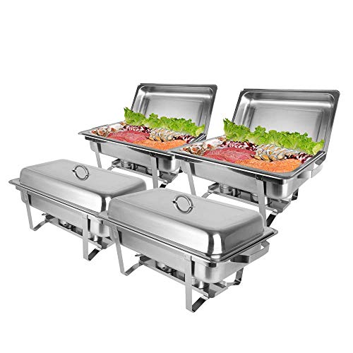 ROVSUN 8 Qt 4 Pack Full Size Upgraded Stainless Steel Chafing Dishes Buffet Silver Rectangular Catering Chafer Warmer Set with Trays Pan Lid Frame Stand for Kitchen Party Banquet Dining