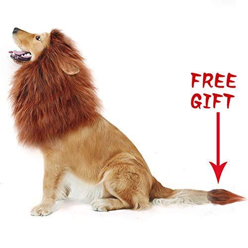 CPPSLEE Lion Mane Costume for Dog - Make Your Dog Lion King - Adjustable Washable Comfortable Fancy Lion Hair Dog Clothes Dress for Halloween (Dark Brown)