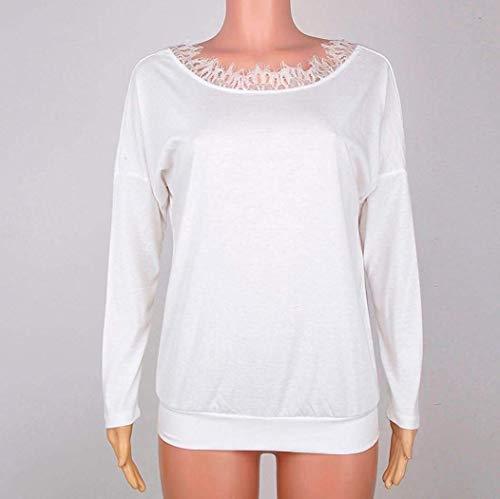 Yhujh Lunghe Camicia Stile Da Donna Size Speciale Camicetta A color Schwarz Maglietta Pizzo L White In Maniche rwtrF8q