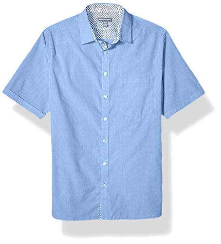 Geoffrey Beene Men's Big and Tall Easy Care Short Sleeve Button Down Shirt, Ultramarine, X-Large Tall