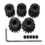 AMOGOT Metal Steel M1 Pinion Gear Sets 11T 12T 13T 14T 15T 5mm Shaft Motor Gears with Hex Key for 1/10 RC Brushless Brush Motor