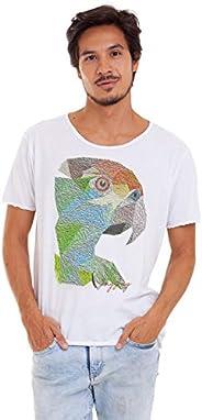 Joss Camiseta Corte À Fio Estampada Masculino, Médio, Branco