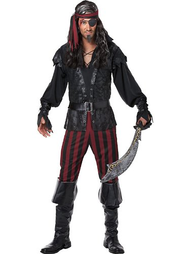 [California Costumes Men's Ruthless Rogue Pirate Buccaneer Swashbuckler, Black/Red, Medium] (Pirate Costumes Boot Covers)