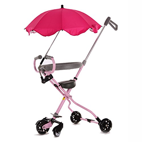 5 Wheels Baby Stroll Artifact With Umbrella Children Trolley Folding Lightweight Portable Tricycle Tourism Kids Trike Child (Color : Pink)
