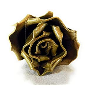 """♥ Eternal Rose Hand-Forged Wrought Iron Golden""""Ideal gift for Valentine's Day, Girlfriend, Mother's Day, Couple, Birthday, Christmas, Wedding, Anniversary, Decor, Indoor"""" 3"""