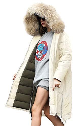 Jacket Coat Women Winter Top Long Coat Women Winter Down Waterproof Jacket Women Lightweight Puffer Spring Jacket Women Quilted Long Sleeve Jacket Women Vintage Sport Coat with Faux Fur Hood Beige S