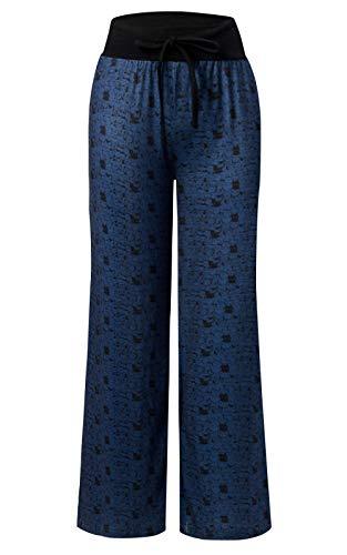 Pajama Trousers (RAISEVERN Women's Summer Pyjamas Pants High Waist Wide Leg Casual Cat Print Lounge Pants Trousers)