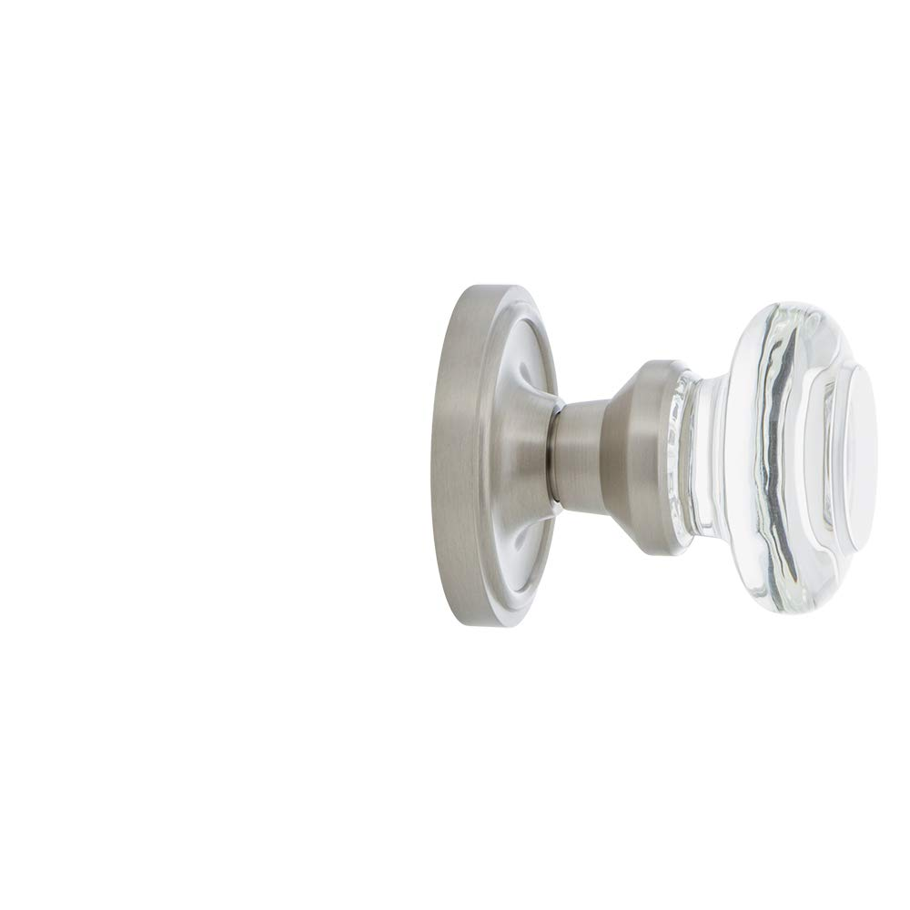 Polished Brass 2.75 Privacy Nostalgic Warehouse Classic Rosette with Round Clear Crystal Glass Knob