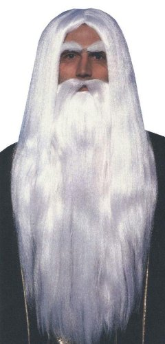 Adult Merlin Wizard Wig & Beard Set