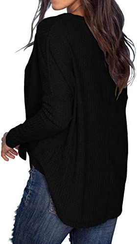 IWOLLENCE Womens Waffle Knit Tunic Blouse Tie Knot Henley Tops Loose Fitting Bat Wing Plain Shirts 4