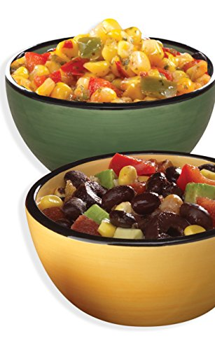 Colorful Southwest Dipping Bowls Set of 2 (Fiesta Round Chip Dip Tray)