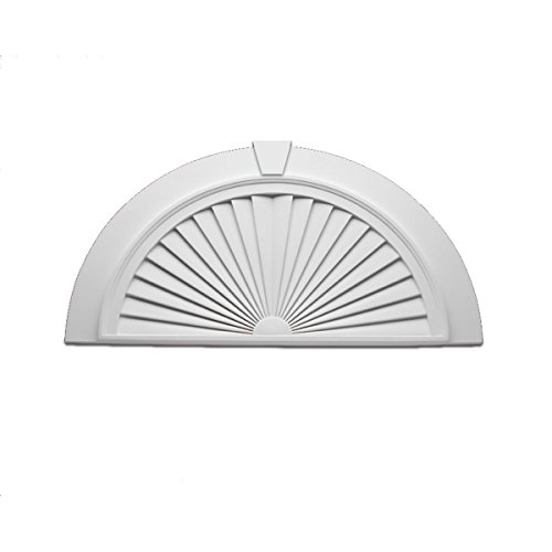 Fypon SWDH36X18-4FK Half Round Sunburst Window Pediment with Flat Trim and Keystone, 36