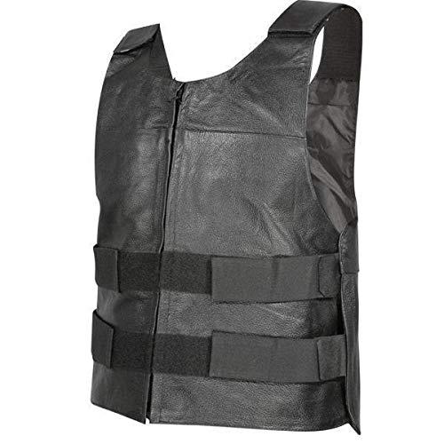 Xelement B263 Men's Black Bulletproof Style Tactical Street Cowhide Leather Vest - -