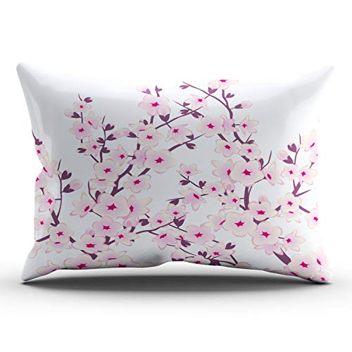 Fanaing Bedroom Custom Decor Floral Cherry Blossoms Sakura Pillowcase Soft Zippered Pink and White Throw Pillow Cover Cushion Case Fashion Design One Sided Printed King 20X36 Inches ()
