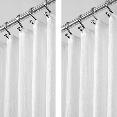 """mDesign Hotel Quality Polyester/Cotton Blend Fabric Shower Curtain, Reinforced Buttonholes - Jacquard Herringbone Weave for Bathroom Showers and Bathtubs - 2 Pack, 72"""" x 72"""" - White"""