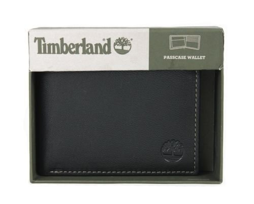 (New Timberland Men's Milled Black Pebble Leather Bifold Passcase Wallet)