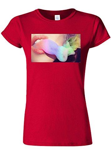 統治可能飢えた非常に怒っていますSmoke Rainbow Weed High Novelty Cherry Red Women T Shirt Top-M
