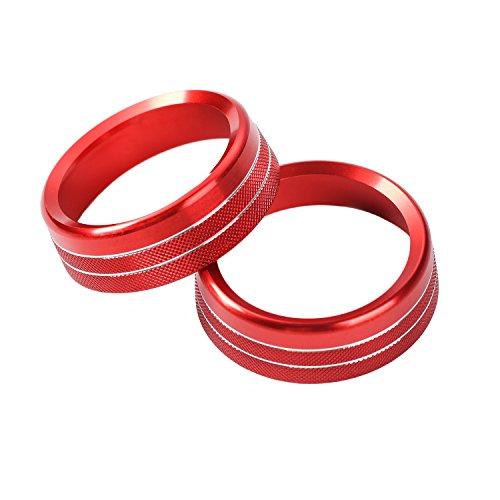 Aluminum Interior Center Console Volume Adjustment Knob Conditioning Twist Switch Ring Trim Interior Trim Accessories or Ford Mustang 2015+(Red)