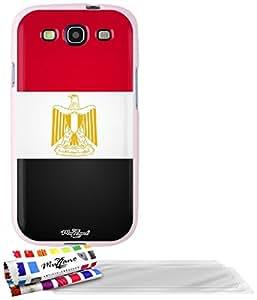 """Carcasa Flexible Ultra-Slim SAMSUNG GALAXY S3 de exclusivo motivo [Bandera Egipto] [Rosa] de MUZZANO  + 3 Pelliculas de Pantalla """"UltraClear"""" + ESTILETE y PAÑO MUZZANO REGALADOS - La Protección Antigolpes ULTIMA, ELEGANTE Y DURADERA para su SAMSUNG GALAXY S3"""