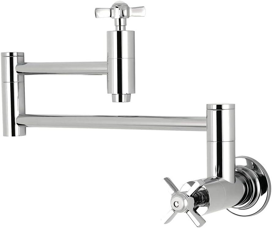 Kingston Brass Restoration Kitchen Pot Filler Cross Handle Chrome KS3101AX NEW