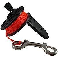 Scuba Choice - Carrete de buceo compacto con mango de plástico, 65 pies, línea naranja