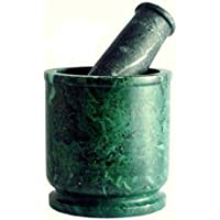 rs handicraft and marbles Green Marble Glass Shape Okhli Musli Mortar and Pestle - 4X4 inch