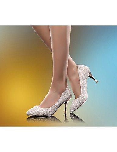 GGX/ Damenschuhe-High Heels-Hochzeit / Büro / Kleid-Kunstleder-Stöckelabsatz-Absätze-Weiß / Gold white-us6 / eu36 / uk4 / cn36