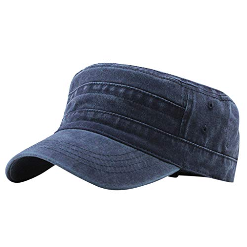 Sunday88 Unisex Solid Color Qucik Drying Cadet Army Cap Twill Military Corps Hat Flat Top Cap Outdoor Sports Cap Hat Navy